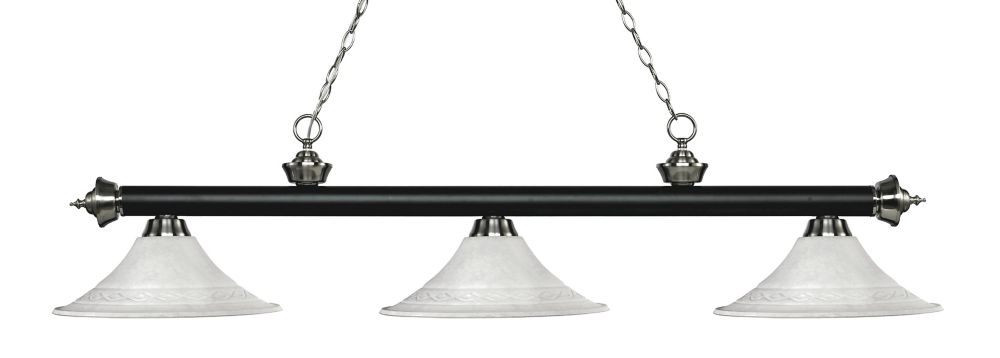 Filament Design 3-Light Matte Black and Brushed Nickel Island/Billiard with White Mottle Glass - 59.5 inch