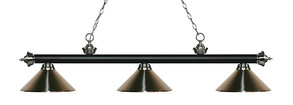 3-Light Matte Black and Brushed Nickel Island/Billiard with Brushed Nickel Steel Shade - 57.25 inch