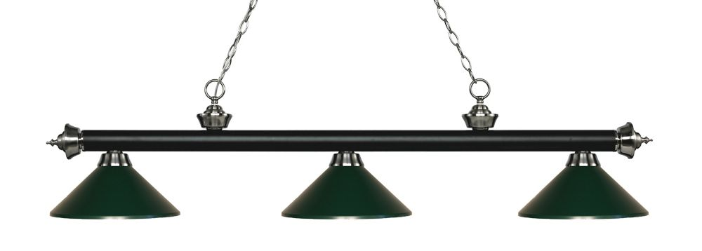 Filament Design 3-Light Matte Black and Brushed Nickel Island/Billiard with Dark Green Steel Shade - 57.25 inch