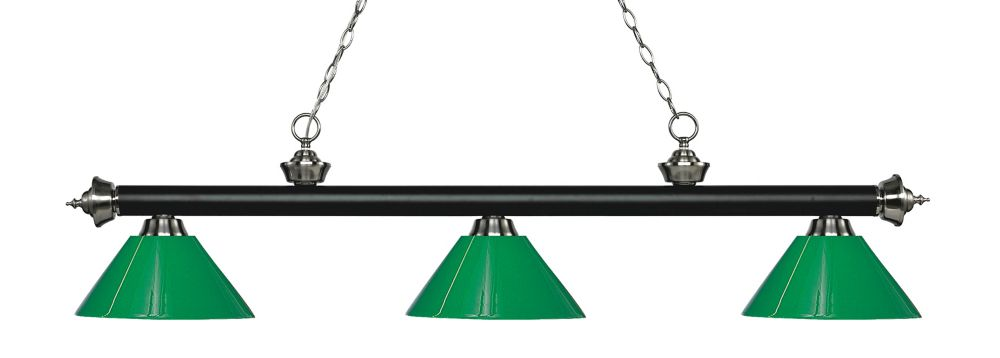 3-Light Matte Black and Brushed Nickel Island/Billiard with Green Plastic - 57 inch