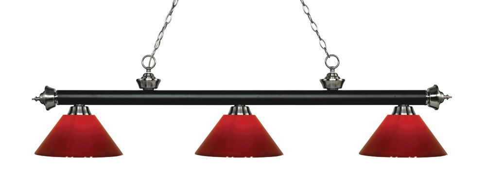 Filament Design 3-Light Matte Black and Brushed Nickel Island/Billiard with Red Plastic - 57 inch