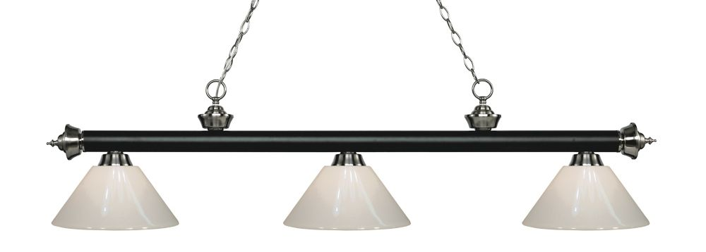 Filament Design 3-Light Matte Black and Brushed Nickel Island/Billiard with White Plastic - 57 inch