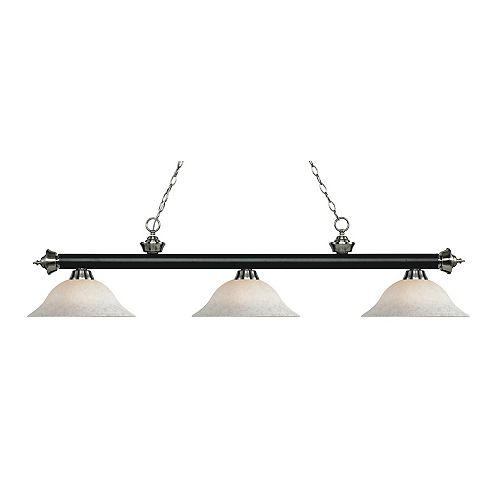 Filament Design 3-Light Matte Black and Brushed Nickel Island/Billiard with White Mottle Glass - 59 inch