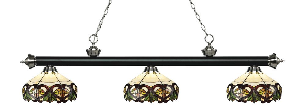 3-Light Matte Black and Brushed Nickel Billiard with Tiffany Glass