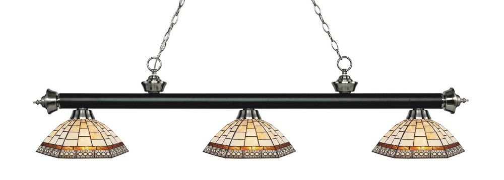 Filament Design 3-Light Matte Black and Brushed Nickel Island/Billiard with Multi Colored Tiffany Glass - 57.25 inch