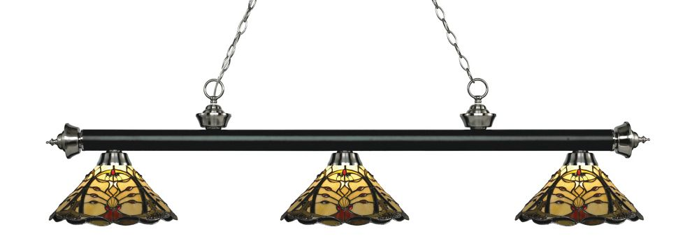 3-Light Matte Black and Brushed Nickel Billiard with Multi Colored Tiffany Glass - 57 inch