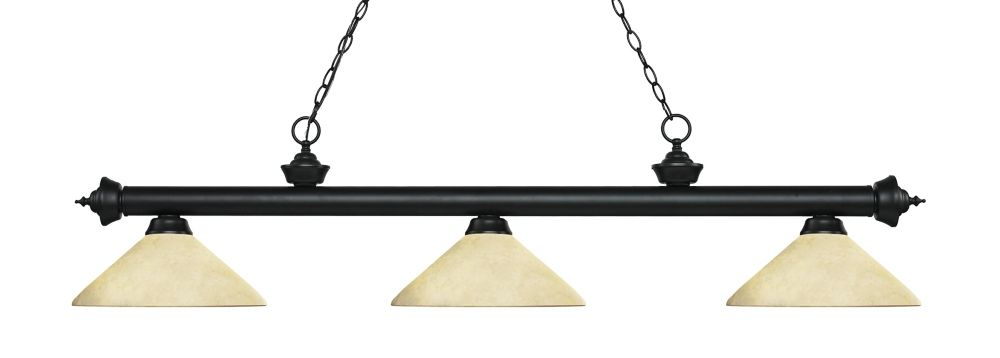 Filament Design 3-Light Matte Black Island/Billiard with Golden Mottle Glass - 56.75 inch