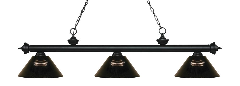 Filament Design 3-Light Matte Black Island/Billiard with Smoke Acrylic Shade - 57.5 inch
