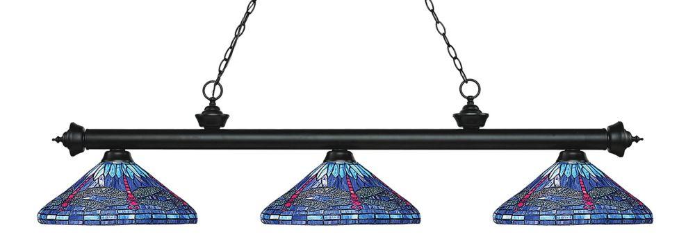 Filament Design 3-Light Matte Black Billiard with Multi Colored Tiffany Glass - 60 inch