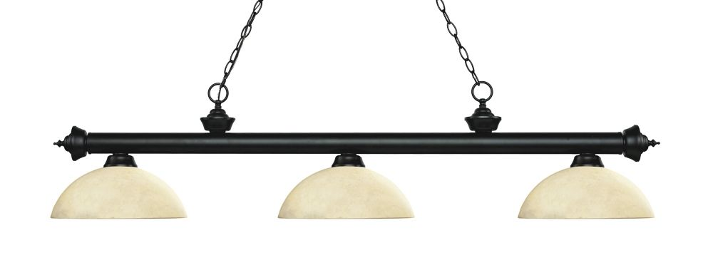 Filament Design 3-Light Matte Black Island/Billiard with Golden Mottle Glass - 56.5 inch