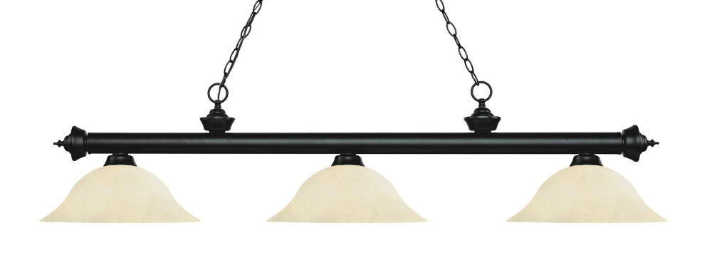 Filament Design 3-Light Matte Black Island/Billiard with Golden Mottle Glass - 59 inch