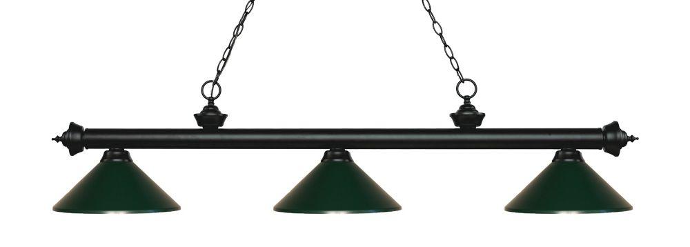 3-Light Matte Black Island/Billiard with Dark Green Steel Shade - 57.25 inch