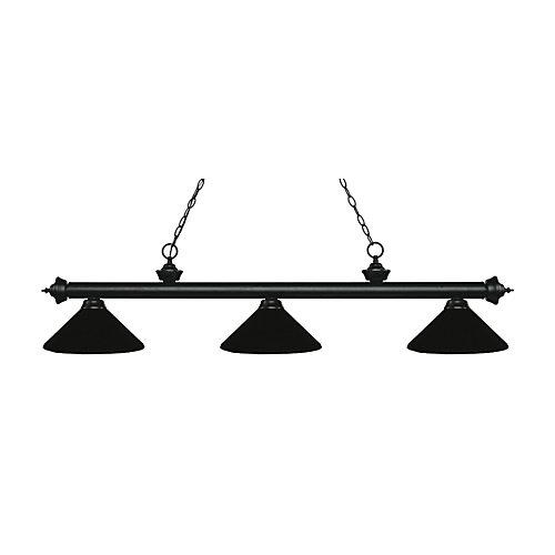 Billard noir mat et 3 lumières avec abat-jour en acier noir mat - 57,25 pouces