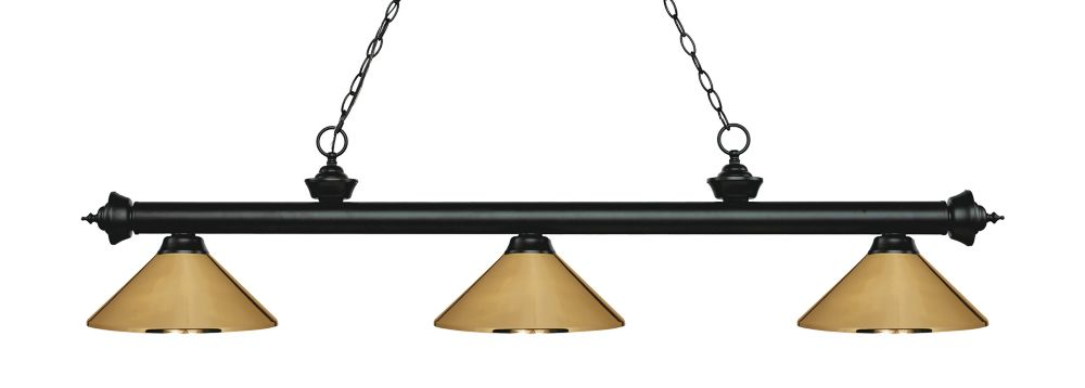 Filament Design 3-Light Matte Black Island/Billiard with Polished Brass Steel Shade - 57.25 inch