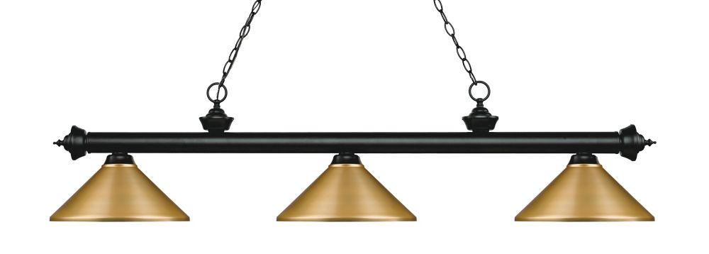 3-Light Matte Black Island/Billiard with Satin Gold Steel Shade - 57.25 inch
