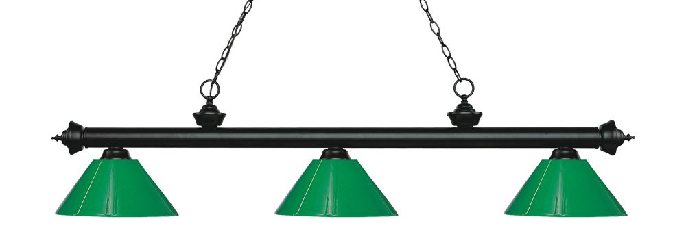 3-Light Matte Black Island/Billiard with Green Plastic - 57 inch