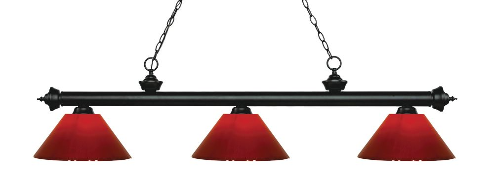 Filament Design 3-Light Matte Black Island/Billiard with Red Plastic - 57 inch
