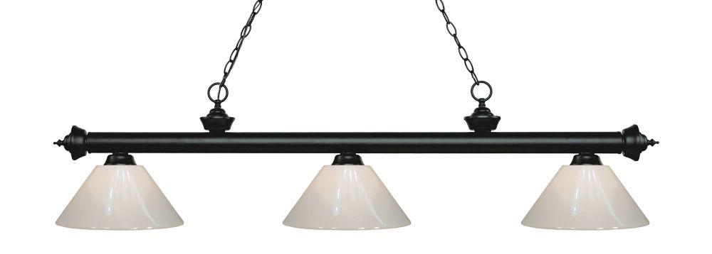 Filament Design 3-Light Matte Black Island/Billiard with White Plastic - 57 inch