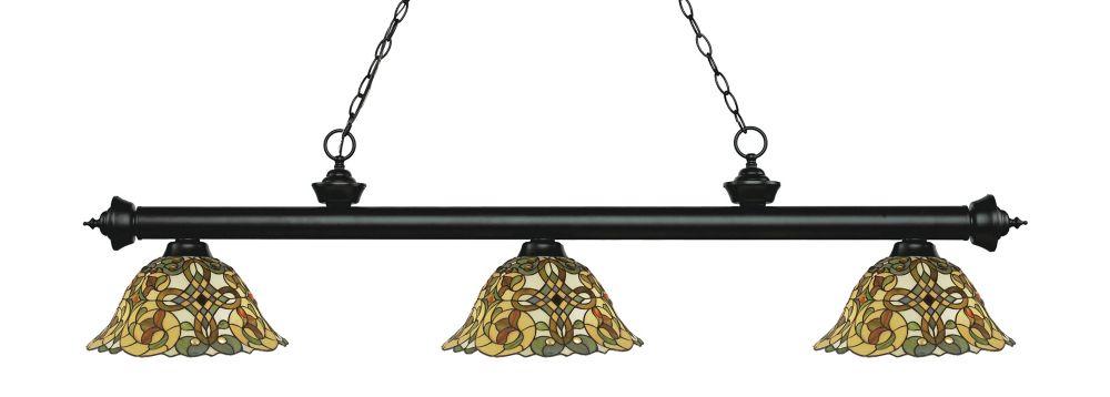 Filament Design 3-Light Matte Black Billiard with Multi Colored Tiffany Glass - 57 inch