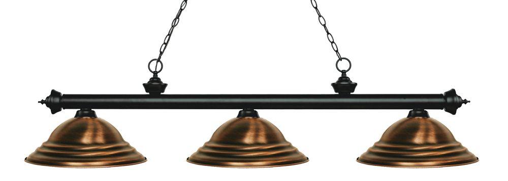 3-Light Matte Black Island/Billiard with Antique Copper Steel Shade - 58.75 inch