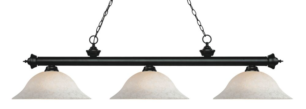 Filament Design 3-Light Matte Black Island/Billiard with White Mottle Glass - 59 inch