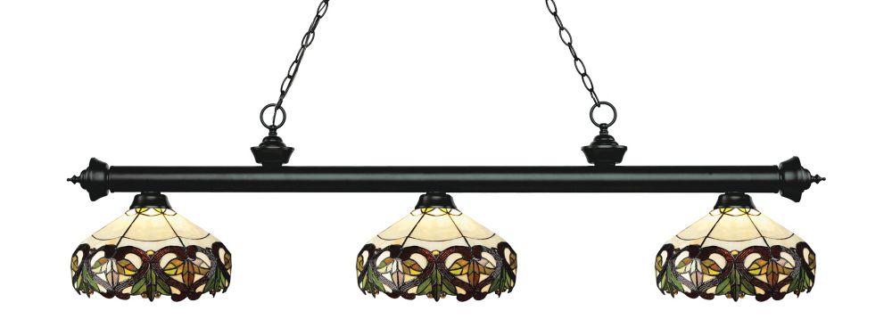 3-Light Matte Black Billiard with Tiffany Glass - 57 inch