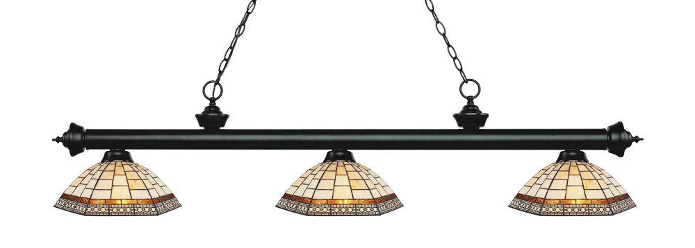 3-Light Matte Black Island/Billiard with Multi Colored Tiffany Glass - 57.25 inch