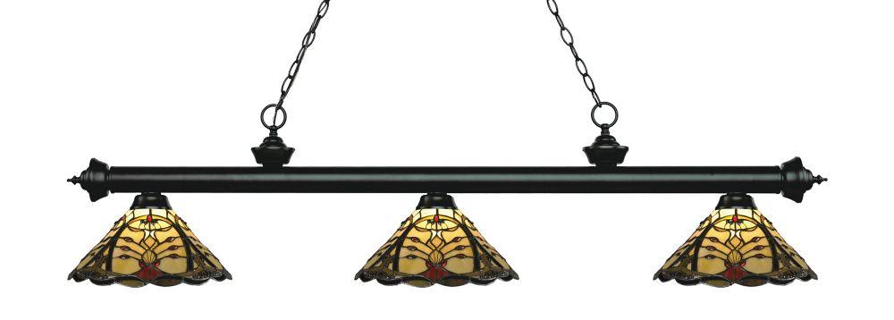 3-Light Matte Black Billiard with Multi Colored Tiffany Glass Shade - 57 inch