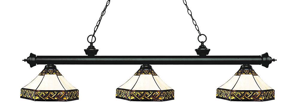 Billard noir mat et 3 lumières avec verre Tiffany multicolore - 59 pouces