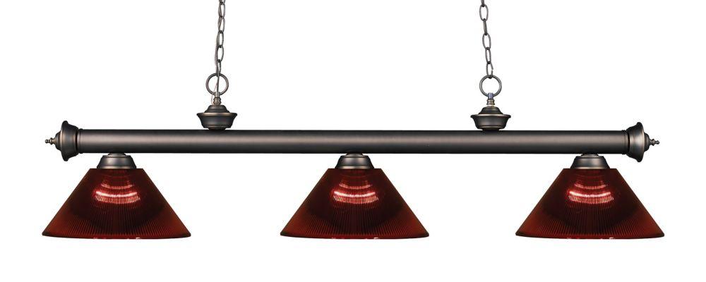 Filament Design 3-Light Olde Bronze Island/Billiard with Burgundy Acrylic Shade - 57 inch