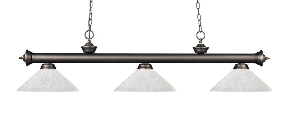 Filament Design Billard bronze à 3 ampoules avec verre de lin blanc - 57 pouces