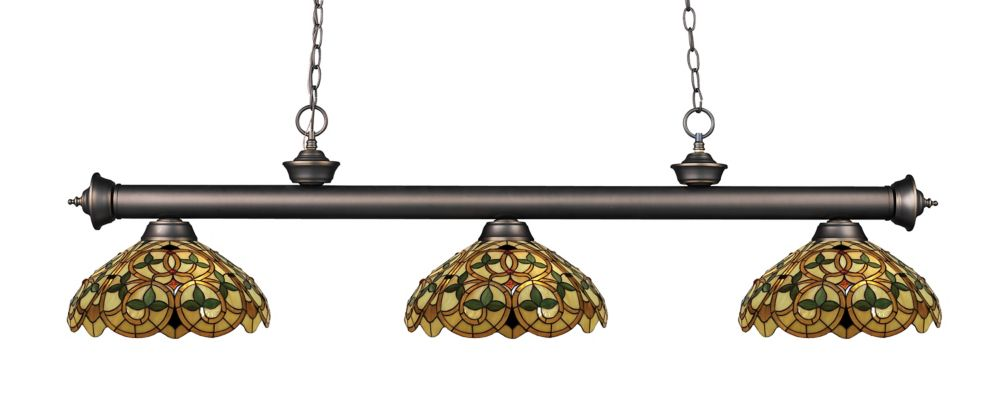 3-Light Olde Bronze Billiard with Multi Colored Tiffany Glass - 57 inch