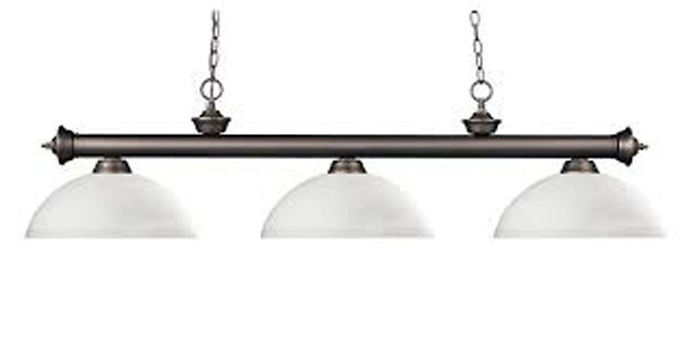 3-Light Olde Bronze Billiard with Matte Opal Glass Shades - 57 inch