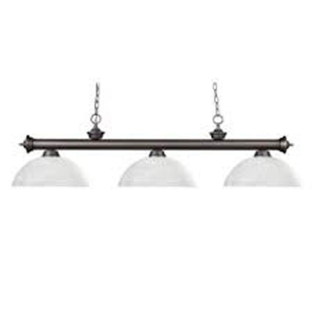 Filament Design 3-Light Olde Bronze Billiard with White Linen Glass Shades - 57 inch