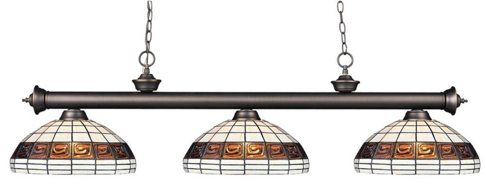 Filament Design 3-Light Olde Bronze Dimmable Billiard with Multi Colored Tiffany Glass - 57 inch