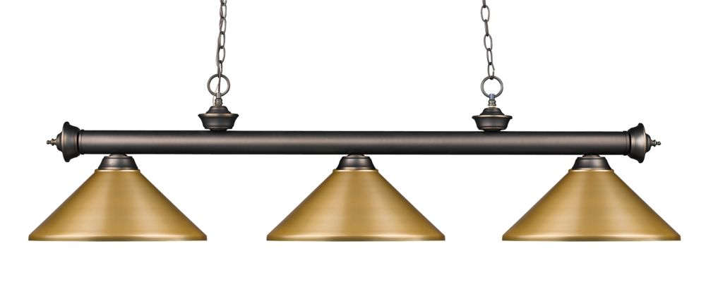 3-Light Olde Bronze Island/Billiard with Satin Gold Steel Shade - 57 inch