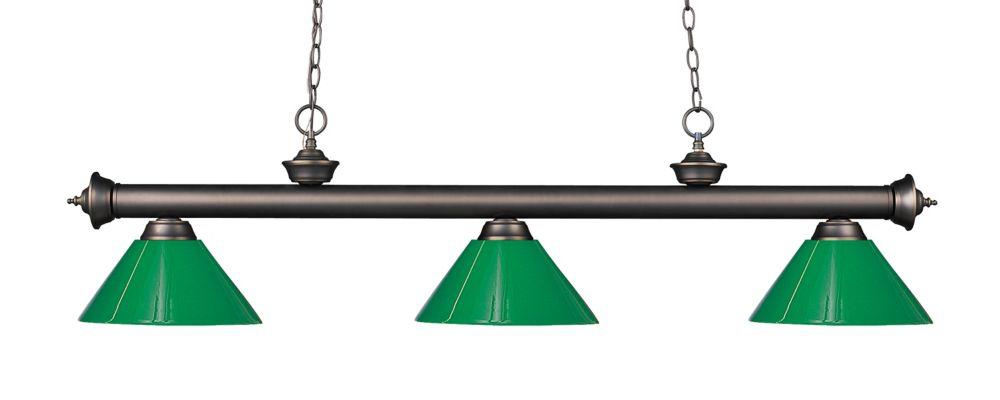 Filament Design 3-Light Olde Bronze Island/Billiard with Green Plastic - 57 inch