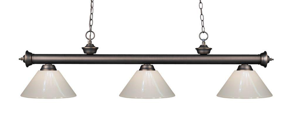 Filament Design 3-Light Olde Bronze Island/Billiard with White Plastic - 57 inch