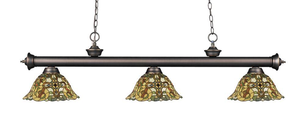 Filament Design 3-Light Olde Bronze Island/Billiard with Multi Colored Tiffany Glass Shades