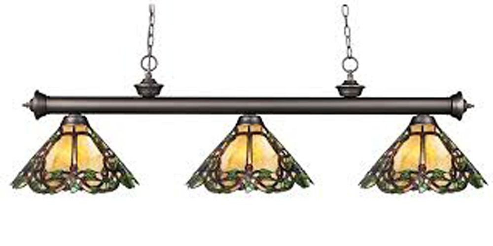3-Light Olde Bronze Billiard with Tiffany Glass Shades