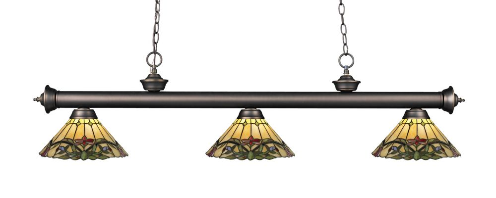 3-Light Olde Bronze Billiard with Tiffany Glass - 57 inch