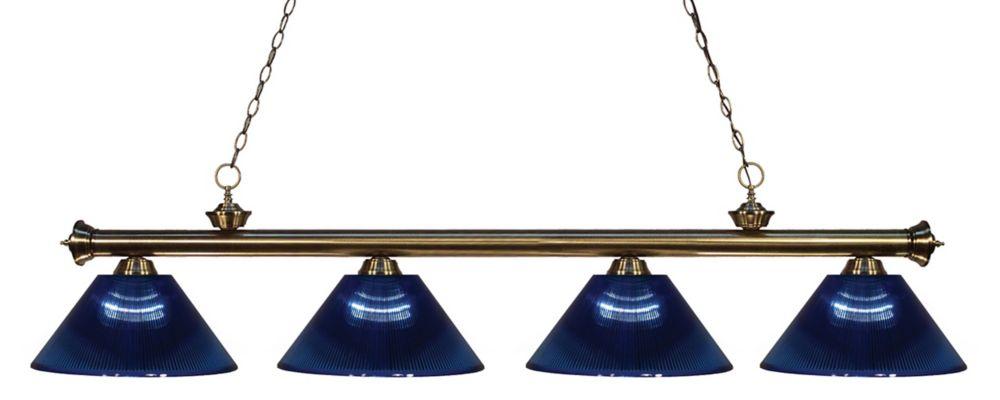 Filament Design 4-Light Antique Brass Island/Billiard with Dark Blue Acrylic Shade - 80 inch