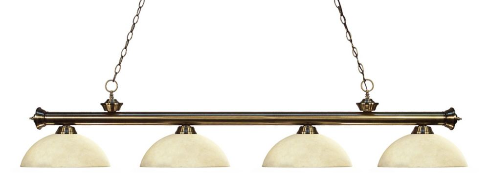 4-Light Antique Brass Billiard with Golden Mottle Glass - 80 inch