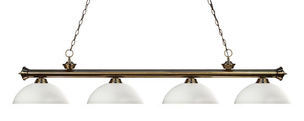 Filament Design 4-Light Antique Brass Billiard with Matte Opal Glass - 80 inch