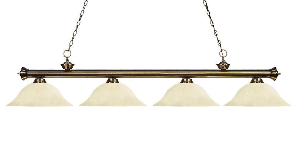 Filament Design Billard îlot en laiton antique à 4 ampoules avec verre à semelle doré - 82 po