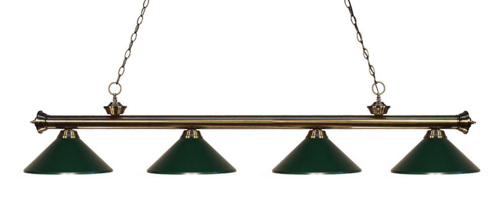 Filament Design 4-Light Antique Brass Island/Billiard with Dark Green Steel Shade - 80 inch