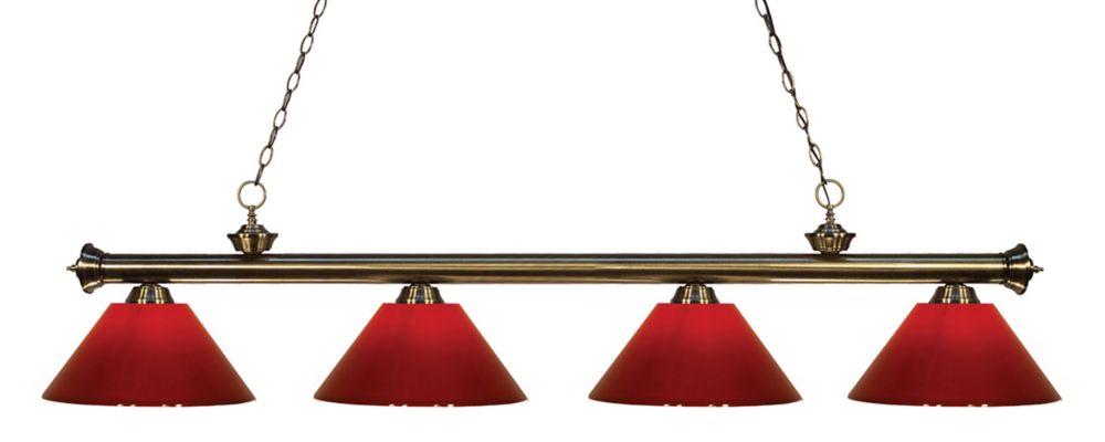 4-Light Antique Brass Island/Billiard with Red Plastic - 80 inch