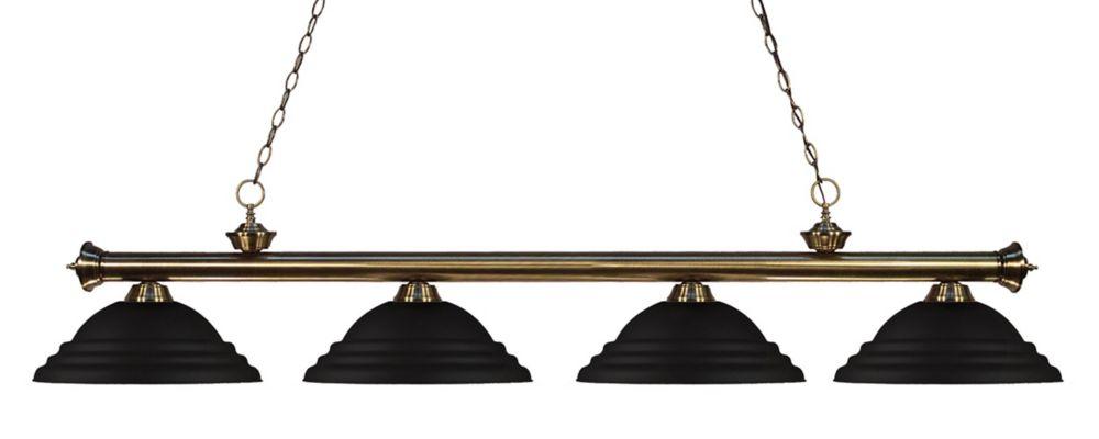 4-Light Antique Brass Island/Billiard with Matte Black Steel Shade - 82 inch