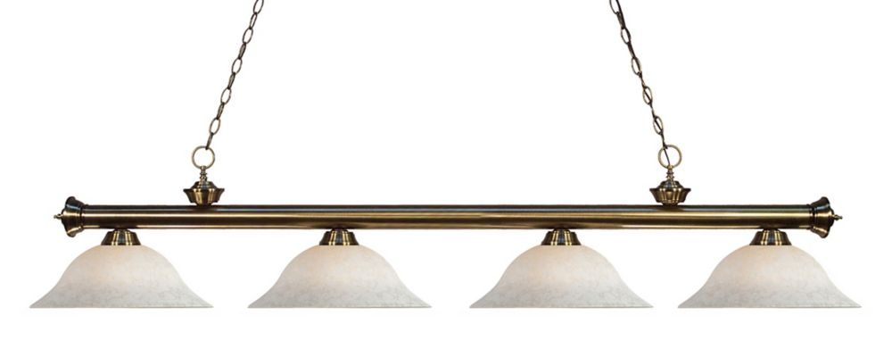 Filament Design 4-Light Antique Brass Billiard with White Mottle Glass