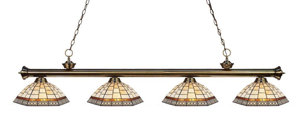 Filament Design 4-Light Antique Brass Billiard with Multi Colored Tiffany Glass - 80 inch